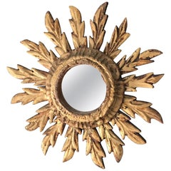 Small Spanish Handcrafted Wooden Sunburst Mirror