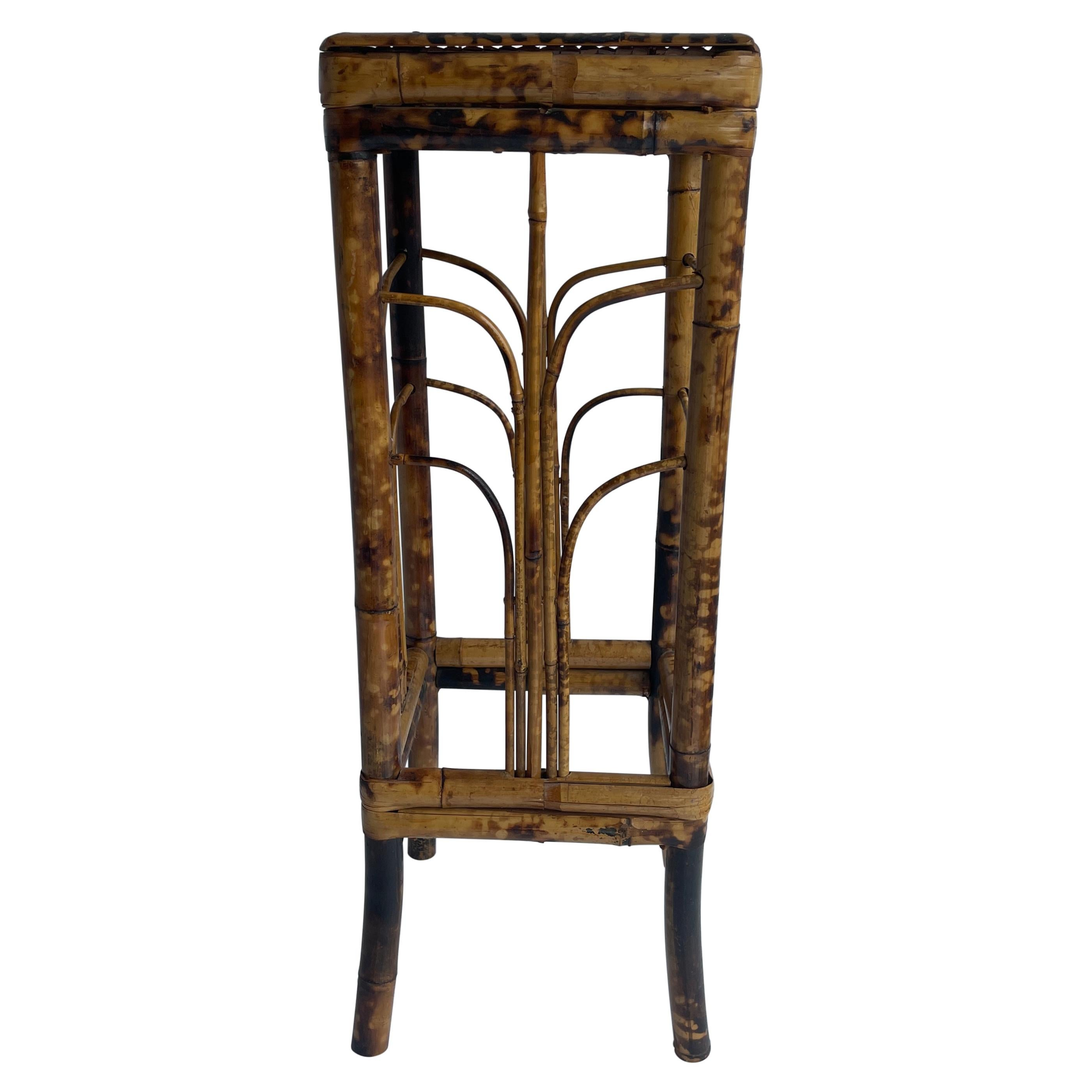 Small Square Bamboo Plant Stand, Mid-Century Modern