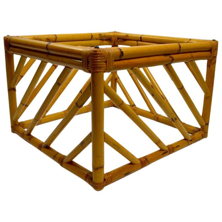 Bamboo Square Table: Small Square Bamboo Table By Ficks Reed For Sale At 1stdibs