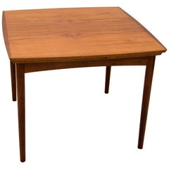 Small Square Danish Teak Draw-Leaf Dining or Breakfast Table