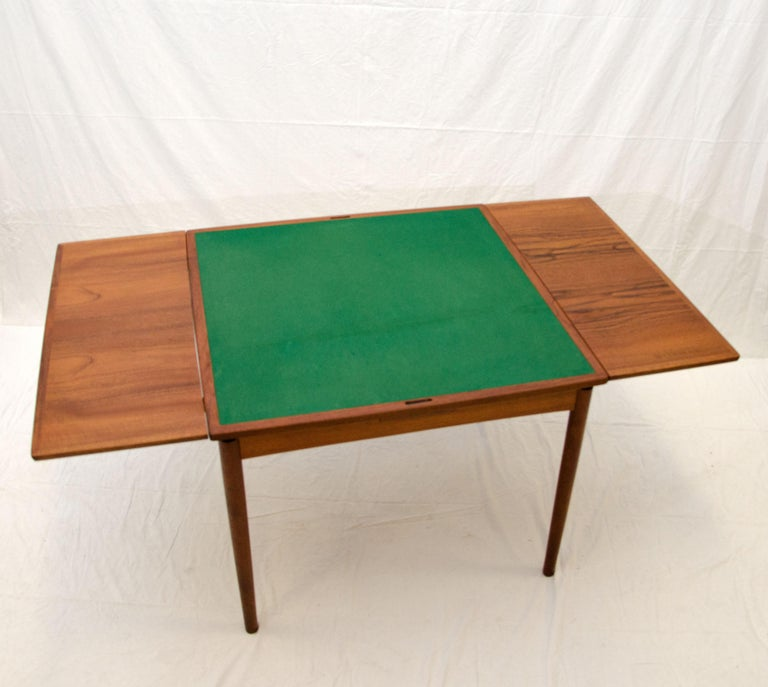 Small Square Danish Teak Flip Top Game Table Breakfast