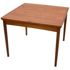 Small Square Danish Teak Flip-Top Game Table, Breakfast Table