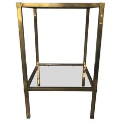 Small Square Italian Brass Glass-Top Mid-Century Modern Side Table