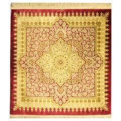 Small Square Rug Silk Handmade Carpet, Oriental Red Cream Wool Rug
