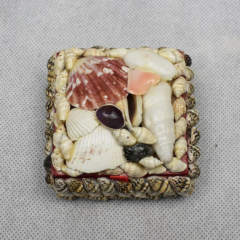 Folk Art Small Square Seashell Encrusted Trinket Box For Sale