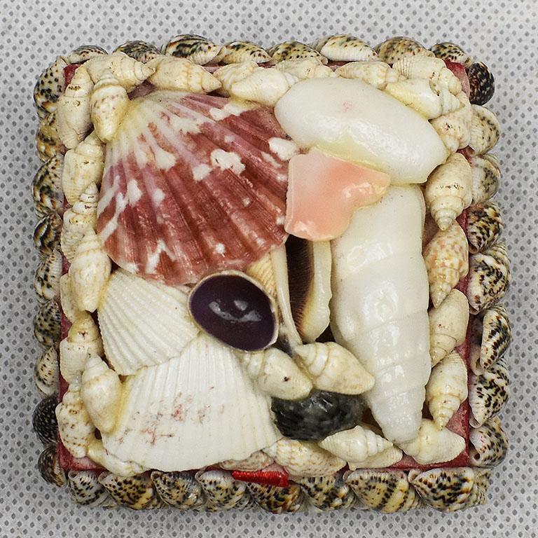 American Small Square Seashell Encrusted Trinket Box For Sale