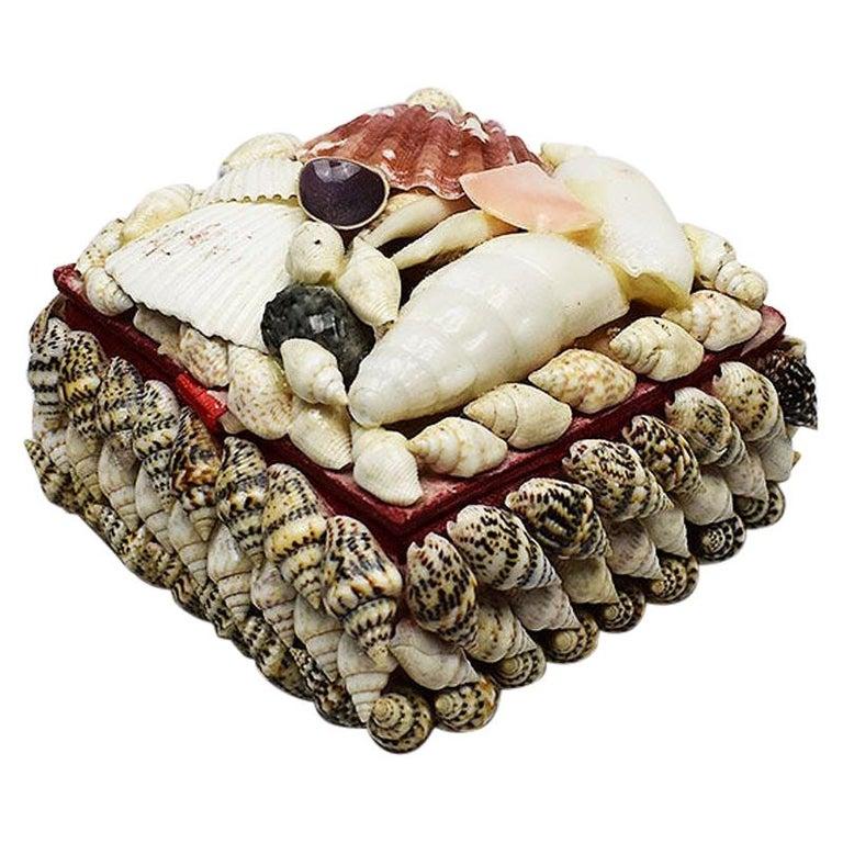 Small Square Seashell Encrusted Trinket Box For Sale
