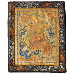 Small Square-Sized Antique Chinese Silk Tapestry with Flower in Gold and Black