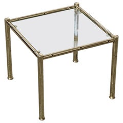 Small Square Table Coffee Solid Brass Gold Italian Design 1970 Glass Top