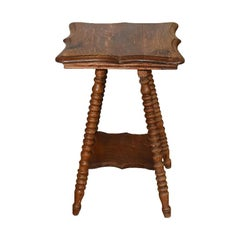 Small Square William and Mary Wood Splay Turned Leg Bobbin Accent Table