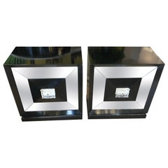 Small Squared Mirrored Front Door Black Wood Sideboards, France, 1970 Set of 2