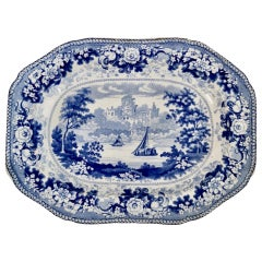 Small Staffordshire Semi China Platter, Blue and White English Scenery, ca 1840