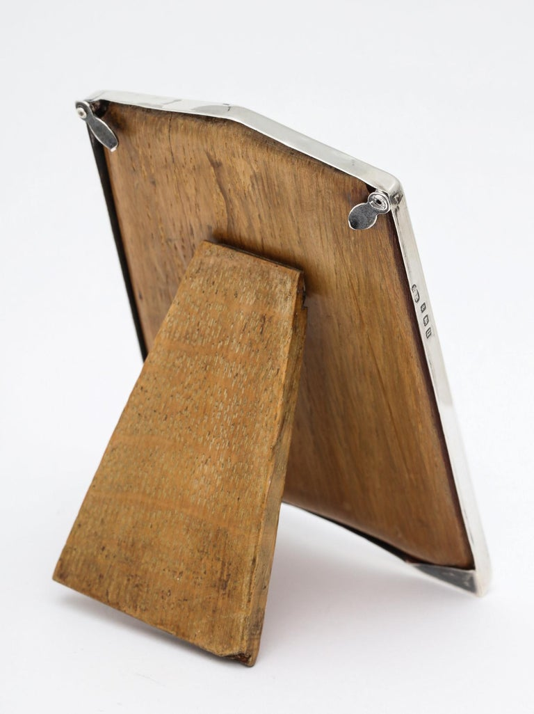 English Small Sterling Silver Art Deco Picture Frame with Wood Back For Sale