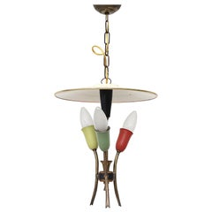 Small Stilnovo Style Multicolored Chandelier