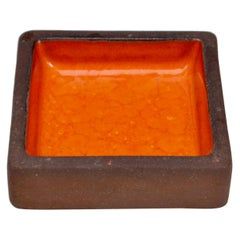 Small Stoneware Bowl with Orange Ceramic Glazing by Knabstrup