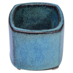 Small blue Danish Mid-Century Modern Stoneware vase by Stogo