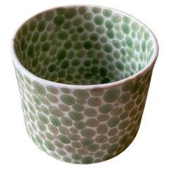 Small Stoneware Vase Green Dots