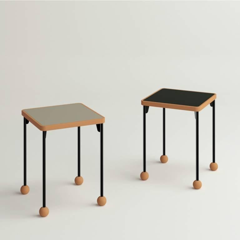 Russian Small stools or side tables - Bauhaus style - Beech wood, metal and linoleum For Sale