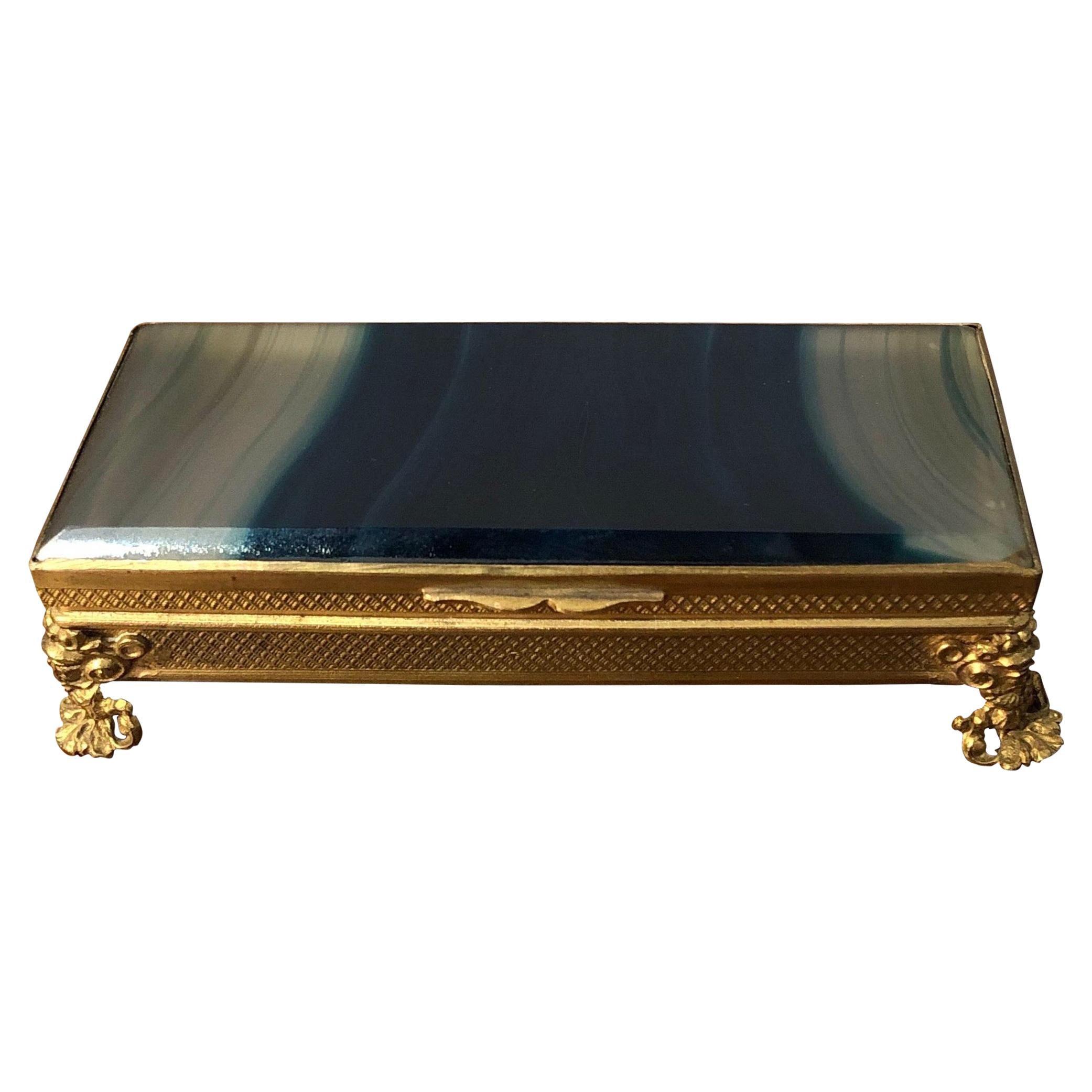 Bronze mounted striped blue agate trinket box