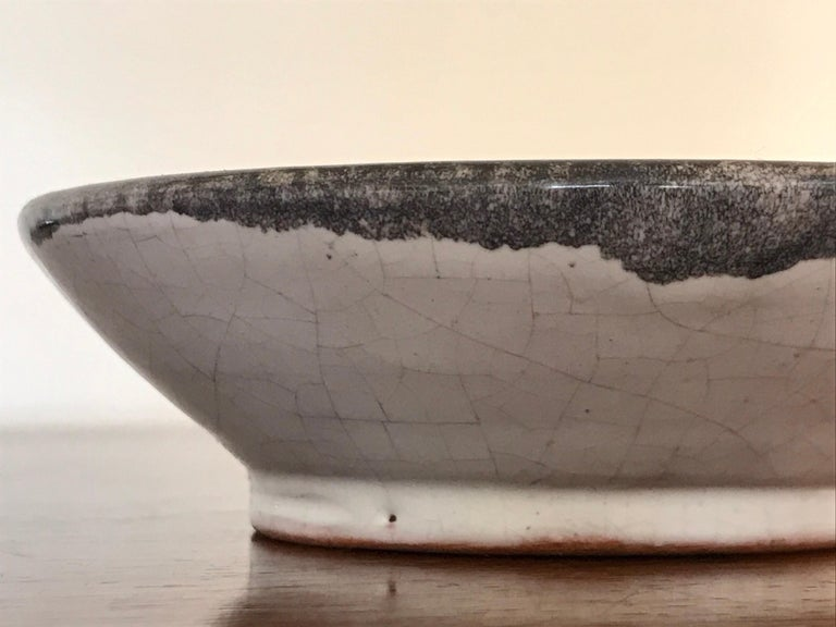 French Small Studio Pottery Bowl with Abstract Art, 20th Century For Sale