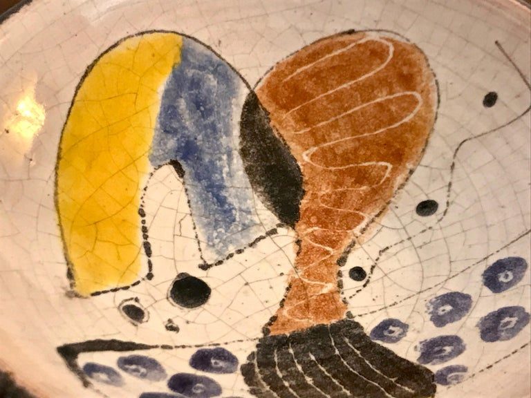 Glazed Small Studio Pottery Bowl with Abstract Art, 20th Century For Sale