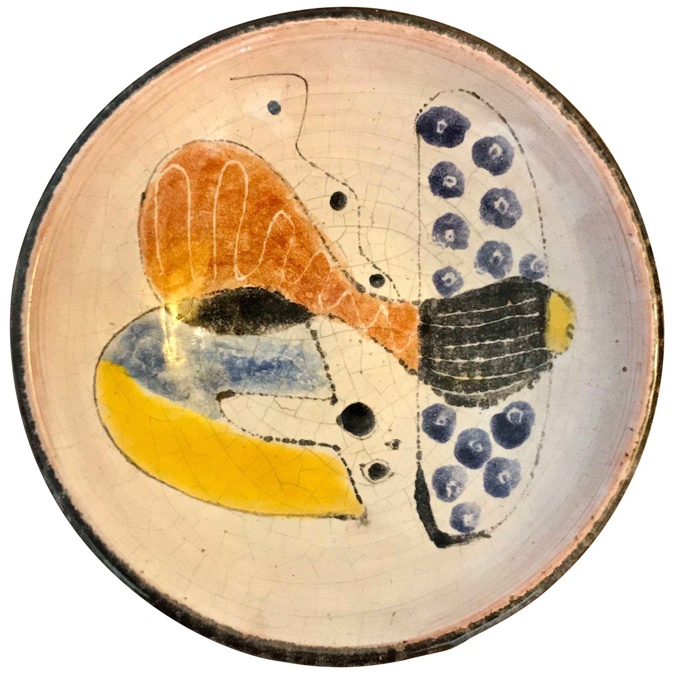 Small Studio Pottery Bowl with Abstract Art, 20th Century