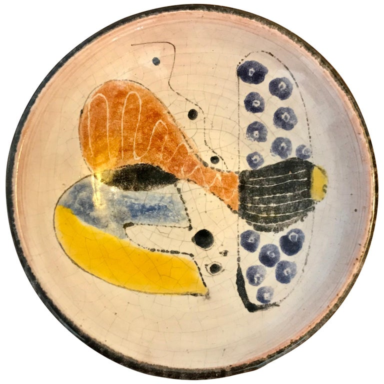 Small Studio Pottery Bowl with Abstract Art, 20th Century For Sale