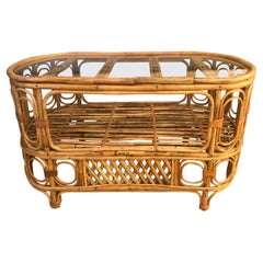 Small Stylish Oval Rattan Bamboo & Glass Console or Cocktail Table