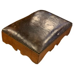 Small Swedish 19th Century Brown Leather Footstool