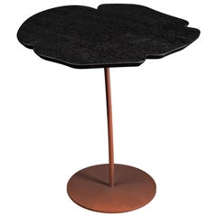 Small Table Andy, Flower Shape, Oak Top and Metal Base, Italy