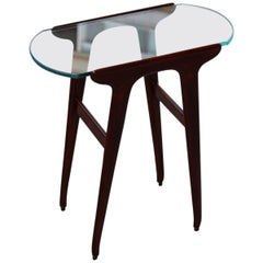 Small Table Coffee Cesare Lacca Midcentury Italian Design Mahogany Glass Top