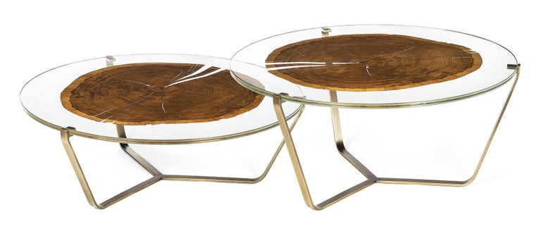 Modern Small Table Cortina, in Glass and Clear Wood, Italy For Sale