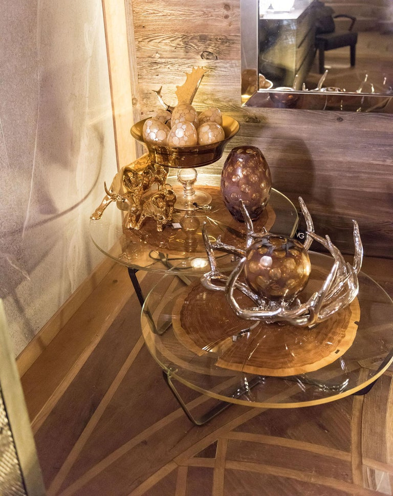 Small Table Cortina, in Glass and Clear Wood, Italy For Sale 2