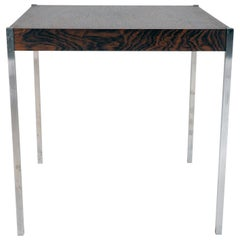 Small Table in Rosewood and Stainless Steel by Östen Kristiansson, Luxus, Sweden