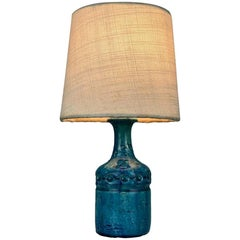 Mid Century Modern Small Table Lamp Blue Ceramic Glaze by Bent Nordsted