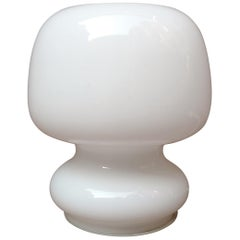 Small Table Lamp in White Glass Murano, 1970 Space Age
