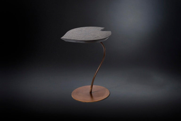 Neoclassical Small Table Leaf in Wood, Top in Golden Leaf, Base in Metal Corten Finish, Italy For Sale