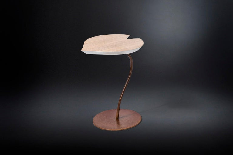 Italian Small Table Leaf in Wood, Top in Golden Leaf, Base in Metal Corten Finish, Italy For Sale