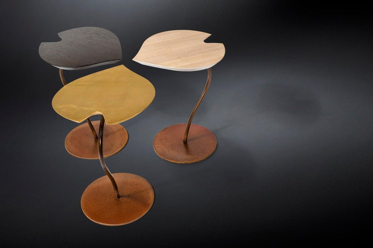 Lacquered Small Table Leaf in Wood, Top in Golden Leaf, Base in Metal Corten Finish, Italy For Sale
