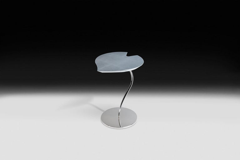 Small Table Leaf in Wood, Top in Golden Leaf, Base in Metal Corten Finish, Italy For Sale 1
