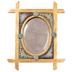Small Table Mirror in Mosaic and Giltwood, 19th Century