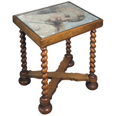 Small Table, the Top Inset with 17th Century Italian Fresco-Fragment of Diana