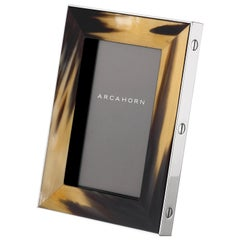 Small Tarso Picture Frame in Dark Horn and Stainless Steel by Arcahorn