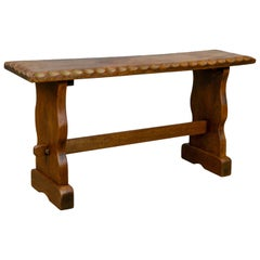 Small Teak Bench, English, Arts & Crafts Revival Two-Seat Form, Mid-20th Century