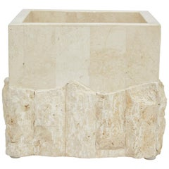 Small Tessellated White Stone Square Rough and Smooth Planter, 1990s