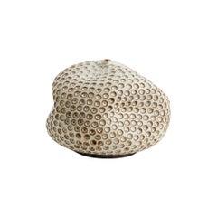 Skoby Joe Small Textured White / Brown Handmade Ceramic, Mid-Century Modern