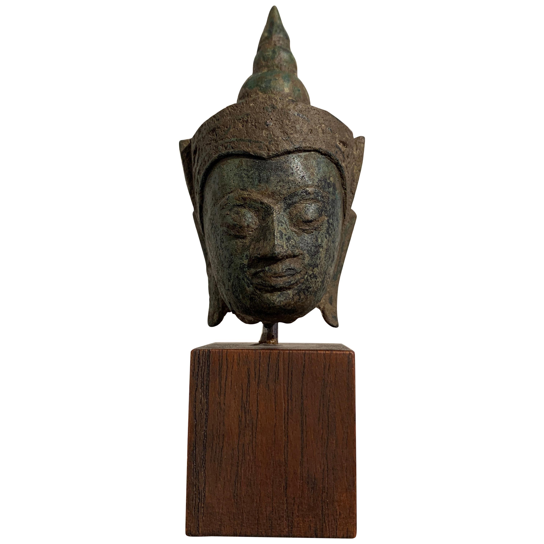 Small Thai Ayutthaya Bronze Crowned Buddha Head, 17th Century, Thailand