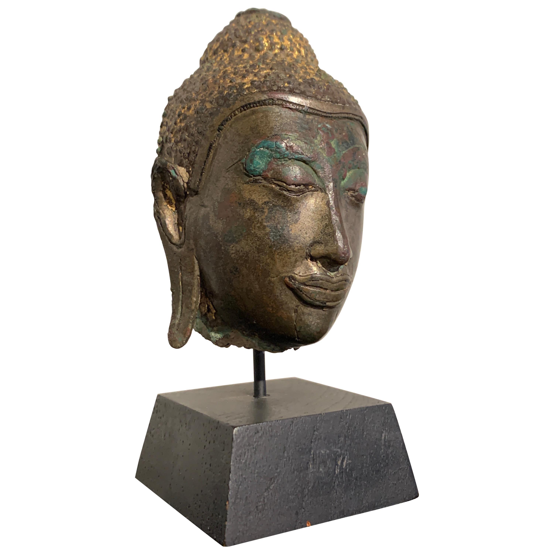 Small Thai Ayutthaya U Thong Style Bronze Buddha Head, 14th-15th Century