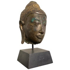 Small Thai Ayutthaya U Thong Style Bronze Buddha Head, 14th-15th Century