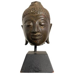 Small Thai Chiang Saen Bronze Head of the Buddha, 16th Century